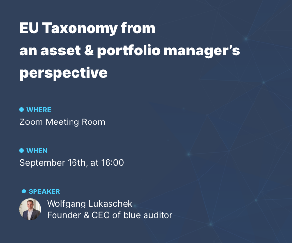 Banner 2 EU Taxonomy from an asset & portfolio manager's  perspective